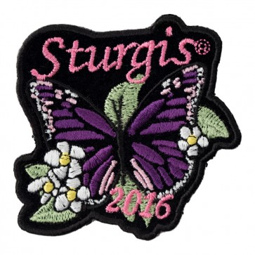 Embroidered 2016 Sturgis Motorcycle Rally Purple Butterfly Flowered Event Patch