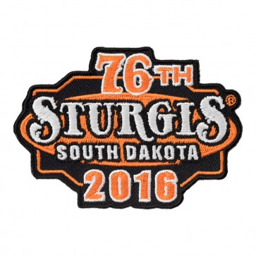 Embroidered 2016 Sturgis 76th Motorcycle Rally Orange & Black Event Patch
