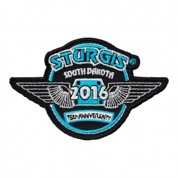 2016 Sturgis Motorcycle Rally Blue & White Wings Sew On Event Patch