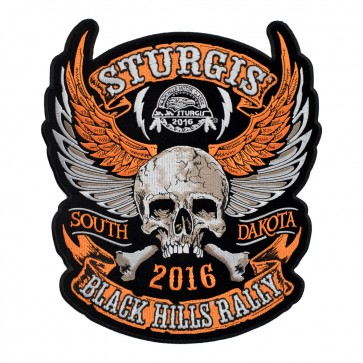 2016 Sturgis Orange Winged Skull & Crossbones Embroidered Event Patch
