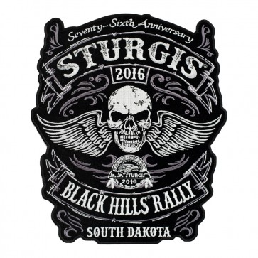 Embroidered 2016 Sturgis 76th Black Hills Rally Winged Skull Event Patch