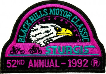 52nd 1992 Sturgis Motorcycle Rally Official Past Year Event Patches