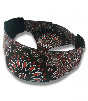 Unisex Black, Red & White Traditional Paisley Chop Top Bandana