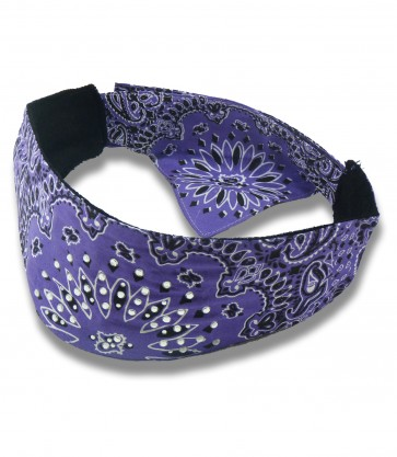 Purple Black & White Paisley Rhinestone Studded Chop Top Bandana