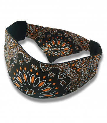 Black & Orange Traditional Paisley Unisex Chop Top Bandana