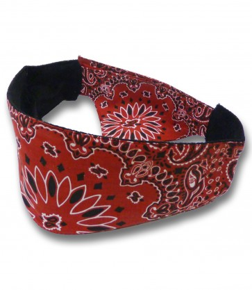 Red & Black Traditional Paisley Unisex Chop Top Bandana
