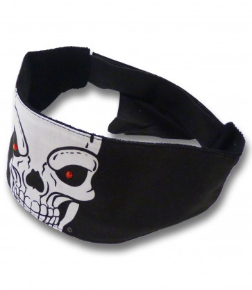 White Skull With Red Studded Rhinestone Eyes Chop Top Bandana