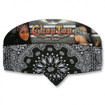 Traditional Black With White Paisley Chop Top Bandana For Men & Women