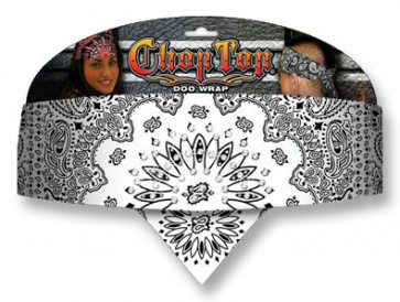 Ladies White With Black Paisley & Rhinestones Chop Top Bandana