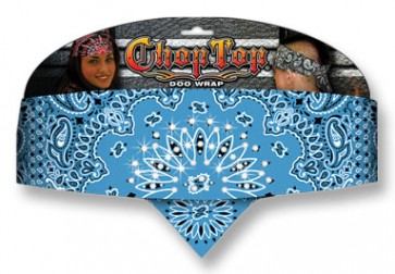 Ladies Light Blue With White Paisley & Rhinestones Chop Top Bandana