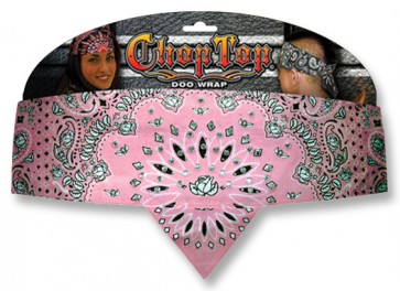 Pink Rose Paisley & Rhinestones Ladies Chop Top Bandana