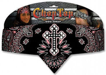Ladies Black Pink & White Paisly Rhinestone Cross Adjustable Chop Top Bandana
