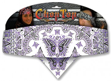 Purple Black & White Butterfly Rhinestones & Paisley Chop Top Bandana