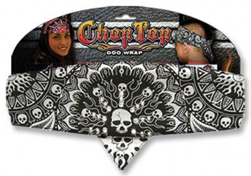 Black & White Studded Solar Design & Skulls Adjustable Chop Top Bandana