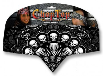 Black & White Arc of Skulls Adjustable Chop Top Bandana