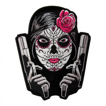 Embroidered Day Of The Dead Girl Twin Guns Patch