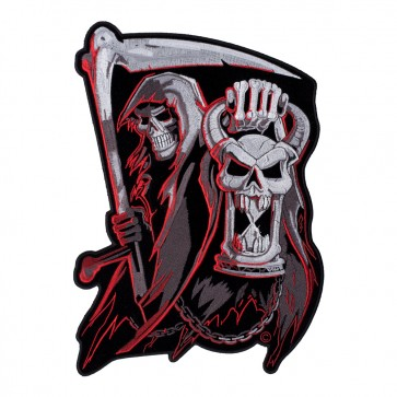 Iron On Countdown To Death Grim Reaper Hourglass Patch