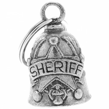 Pewter Sheriff Star Guardian Angel Motorcycle Bell