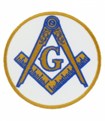 Freemasons White & Gold Masonic Patch, Masonic Patches