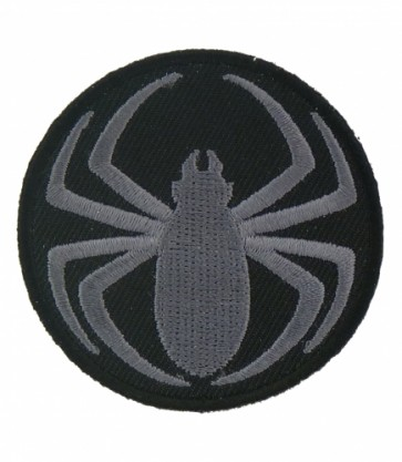 Tribal Grey Round Spider Patch, Spider Patches