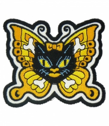 Black Cat With Butterfly Wings Patch, Ladies Patches