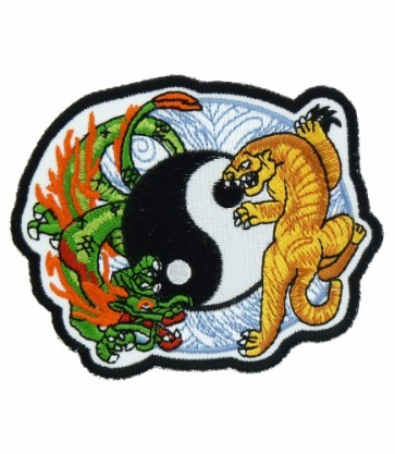 Dragon & Tiger Blue Yin Yang Patch, Dragon Patches