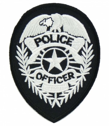 Police Badge Black & White Patch, Law Enforcement Patches