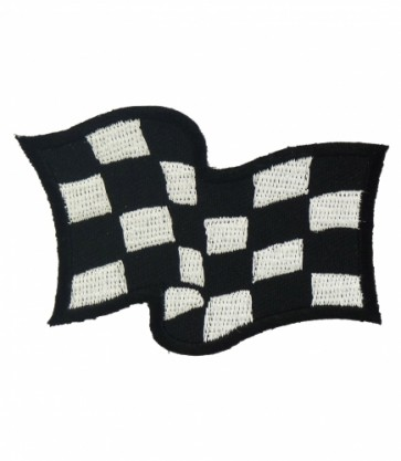 Waving Checkered Flag Patch, Racing Patches