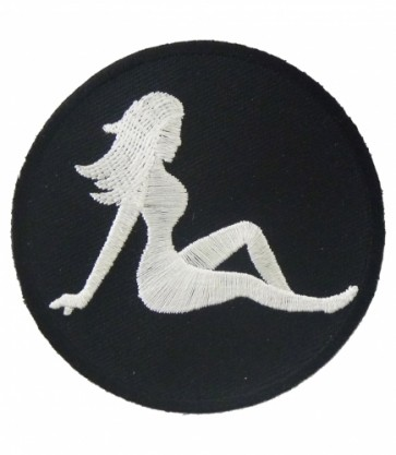 Mudflap Girl Silhouette Round Patch, Biker Patches