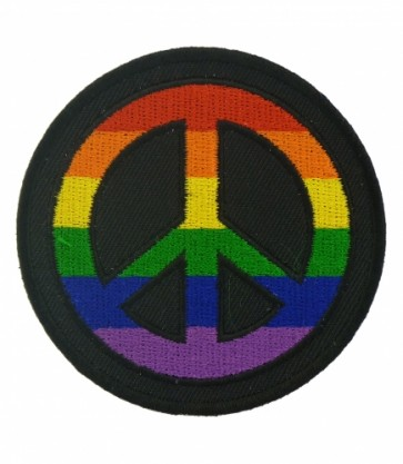 Rainbow Peace Sign Round Patch, Peace Sign Patches