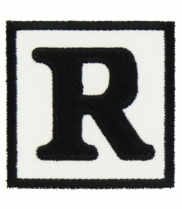 Rated R Black & White Patch, Biker Patches