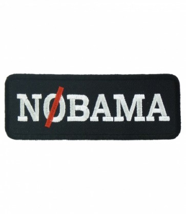 NOBAMA Black & White Patch, Funny Political Patches