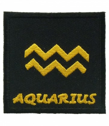 Zodiac Sign Aquarius Black & Gold Patch, Zodiac Patches