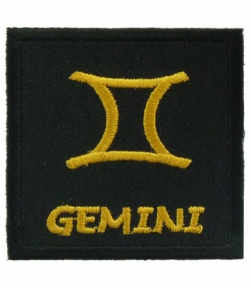 Zodiac Sign Gemini Black & Gold Patch, Zodiac Patches