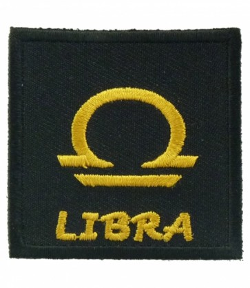 Zodiac Sign Libra Black & Gold Patch, Zodiac Patches