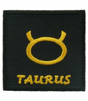Zodiac Sign Taurus Black & Gold Patch, Zodiac Patches