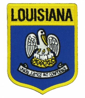 Lousiana State Flag Shield Patch, 50 State Flag Patches