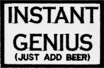 Instant Genius Just Add Beer Patch, Funny Beer Patches