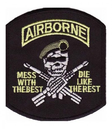 Airborne Mess With The Best Skull Patch, Military Patches