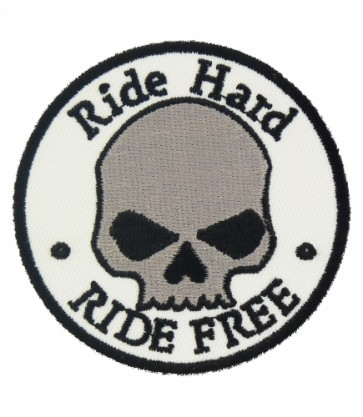 Ride Hard Ride Free Skull Patch, Biker Skull Patches