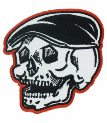 Red Bordered Skull With Hat Patch, Skull Patches