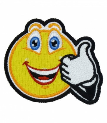 Thumbs Up Smiley Face Patch, Smiley Face Patches