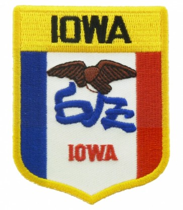 Iowa State Flag Shield Patch, 50 State Flag Patches