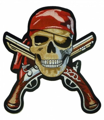 Pirate Skull With Guns Patch, Pirate Patches