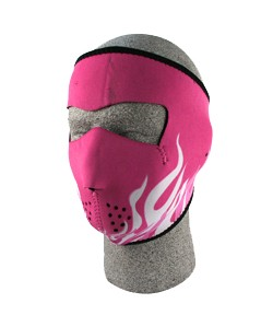 Pink & White Flames, Ladies Full Face Mask