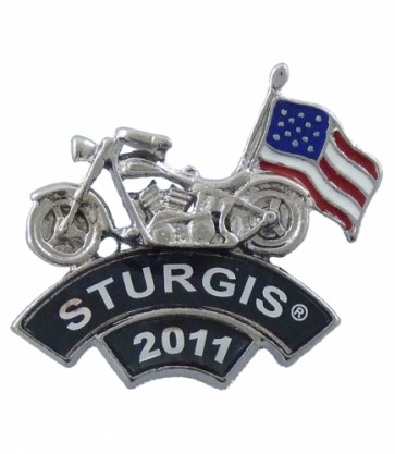 2011 Sturgis Rally Motorcycle & American Flag Rocker Event Pin