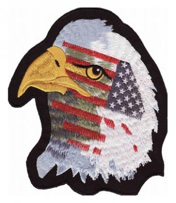 American Flag Eagle Patch Facing Left, Patriotic Patches