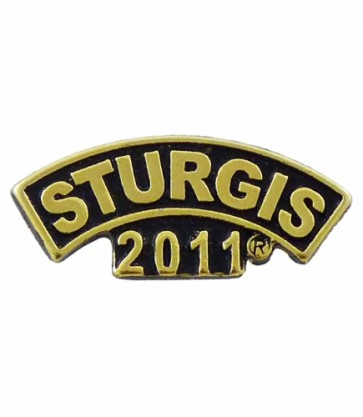 Sturgis 2011 Motorcycle Rally Wide Gold Rocker Event Pin