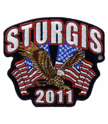 Sturgis 2011 Motorcycle Rally US Flag & Eagle Patch