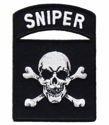 Sniper Tab Skull & Crossbones Patch, Military Patches